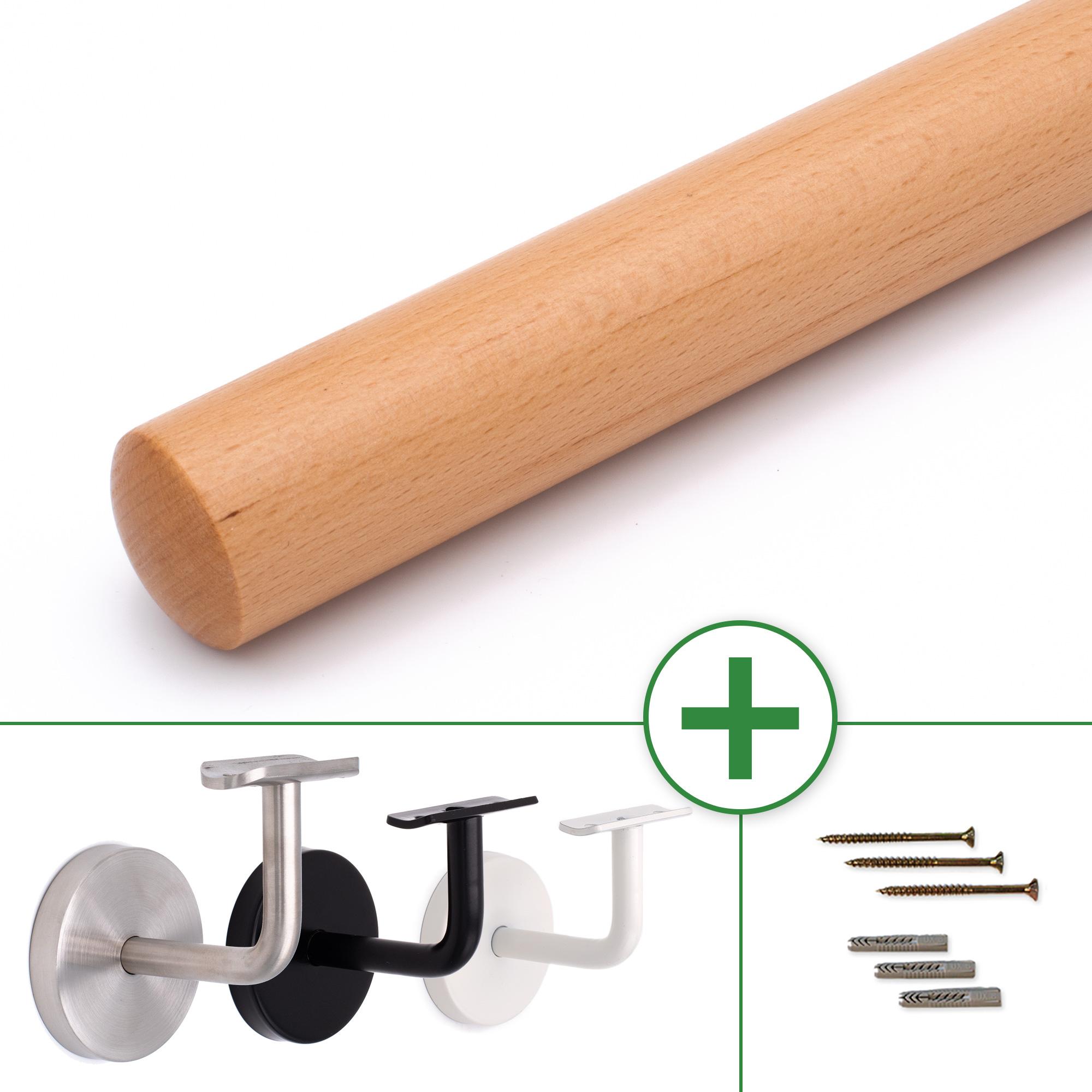 Handlauf ohne Halter in verschiedenen L/ängen /Ø50mm Buche 150cm