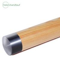 Holzhandlauf Kiefer mit Edelstahlteilen, 42mm Durchmesser, bis 4 m Länge nach Maß, fertig montiert